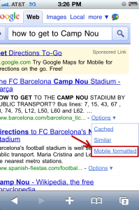 Google provides Mobilized links for web pages in its search  results