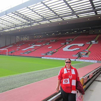 Pitch-level view of the Kop at Anfield