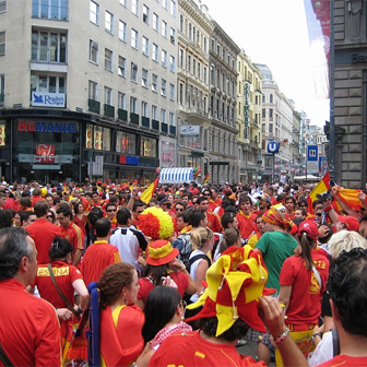Spanish fans gathering in Vienna for Euro 2008