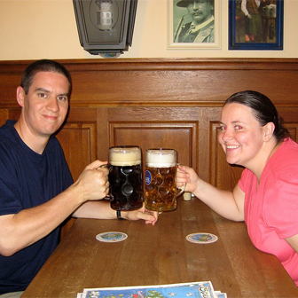 Enjoying a liter at Hofbrauhaus
