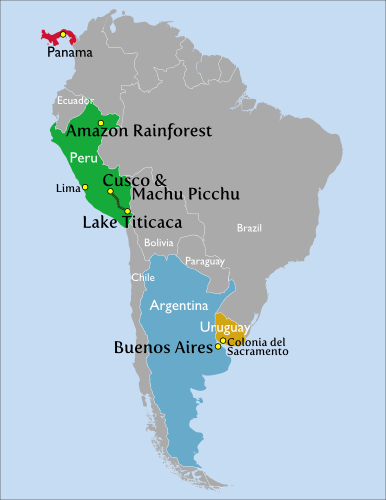 Map of South America with each location noted and annotated with a photo