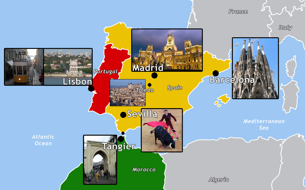 Detailed Map Of Spain Portugal And Morocco.Spain Patik Com