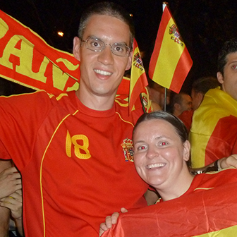 Celebrating Spain's victory in Madrid