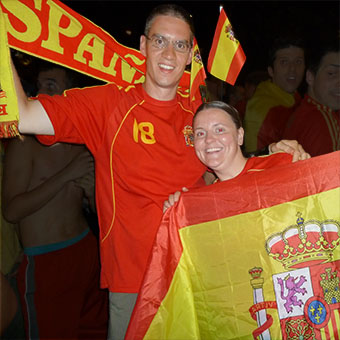 Celebrating Spain's World Cup victory in Madrid
